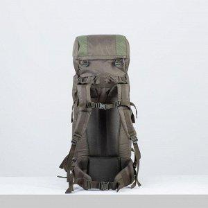 Рюкзак туристический, 60 л, отдел на шнурке, наружный карман, 2 боковые сетки, цвет оливковый