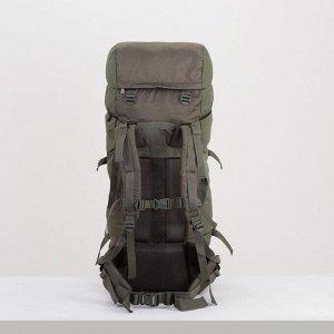 Рюкзак туристический, 60 л, отдел на шнурке, наружный карман, 2 боковые сетки, цвет тёмно-оливковый