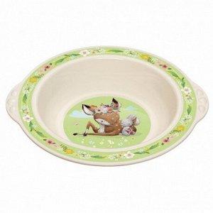 Тарелка детская глубокая с зеленым декором