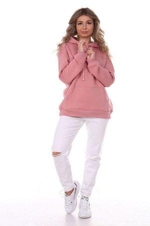 Худи женское из футера 3х-нитка начёс розовый щербет
