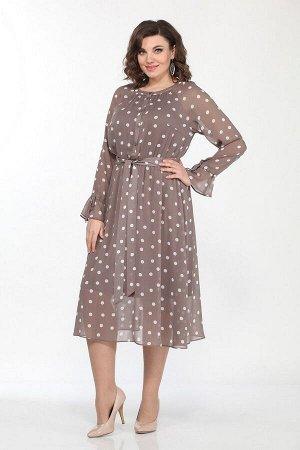 Платье Lady Style Classic 2204 кофе+горох