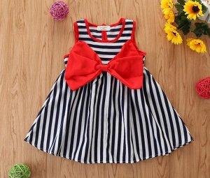 """Детское платье, принт """"полосы"""", декор бант, цвет красный/черный/белый"""