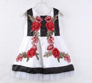 """Детское платье, принт """"цветы"""", цвет черный/белый"""