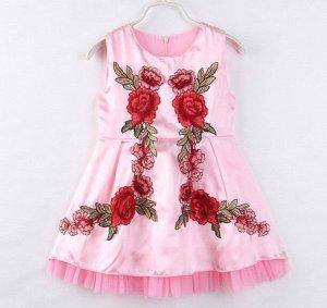 """Детское платье, принт """"цветы"""", цвет розовый"""