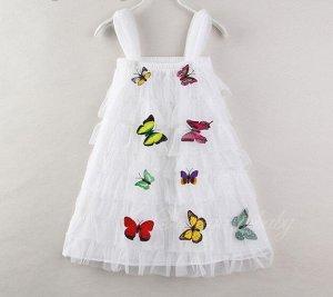 """Платье для девочки, принт """"бабочки"""", цвет белый"""