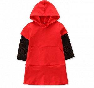 Платье для девочки с капюшоном, сетчатые рукава, цвет красный/черный