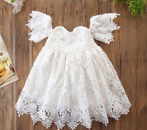 Платье для девочки кружевное, цвет белый