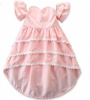 Платье для девочки с кружевными оборками, цвет розовый