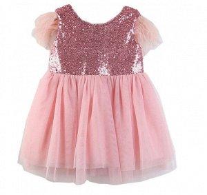 Платье для девочки, декор пайетки/перья, цвет розовый