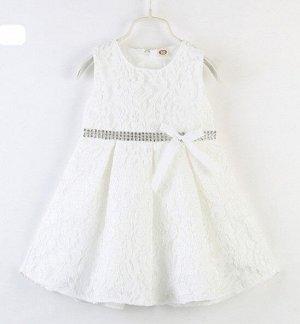 Платье для девочки кружевное, декор бант/стразы, цвет белый