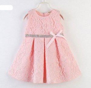 Платье для девочки кружевное, декор бант/стразы, цвет розовый