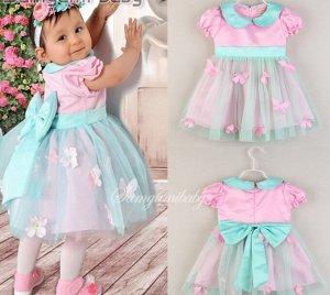 Платье для девочки, декор бабочки, цвет розовый/голубой
