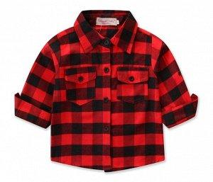 """Детская клетчатая рубашка, надпись """"girl gang"""", цвет красный/черный"""