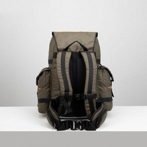 Рюкзак туристический, 45 л, отдел на шнурке, 3 наружных кармана, цвет хаки