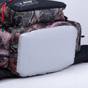 Рюкзак туристический, 55 л, отдел на шнурке, 3 наружных кармана, цвет камуфляж/чёрный