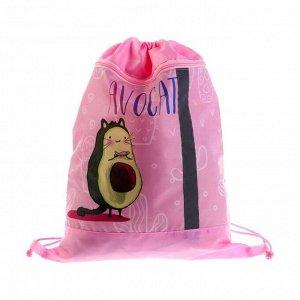 Мешок для обуви с карманом на молнии, 420 х 340 мм, со светоотражающей полосой, СДС-71, «Элит», «Кот авокадо»
