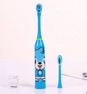 Детская электрическая зубная щетка с 2 насадками, 4-10 лет Голубой