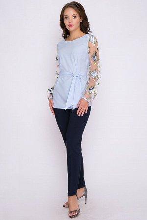 Блузка Блузка прямого силуэта из текстильного полотна.Рукава из сетки с вышивкой.Пояс из основно ткани в комплекте. 30% вискоза 65% п/э,5% эластан