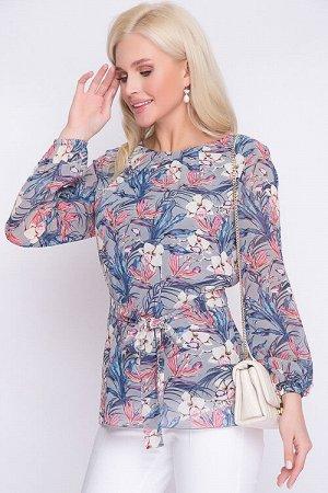 Блузка Блузка свободного силуэта из шифона на трикотажном подкладе. 100% п/э