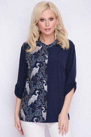 Рубашка Комбинированная рубашка из текстильного полотна.Воротник-стойка. 30% вискоза 65% п/э,5% эластан