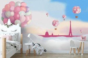 3D Фотообои «Корзина с шарами»