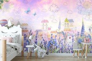3D Фотообои «Домики в полевых цветах»