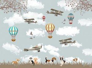 Фотообои Воздушные шары с собачками