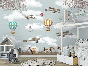 3D Фотообои «Воздушные шары с собачками»