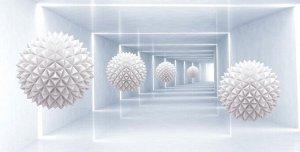 3D Фотообои «Шары оригами в светлом тоннеле»