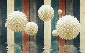 3D Фотообои «Колючие шары на древесном фоне»