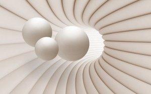 3D Фотообои «Шары в тоннеле»
