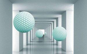 3D Фотообои  «Мятные шары в тоннеле»