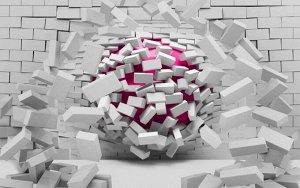 3D Фотообои «Шар разламывающий кирпичную стену»