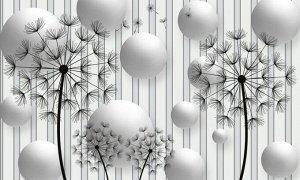 3D Фотообои «Абстракция с одуванчиками»