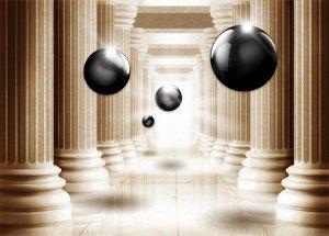 3D Фотообои «Черный жемчуг среди античных колонн»