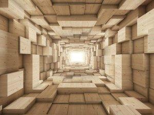 3D Фотообои «Тоннель из деревянных кубов»