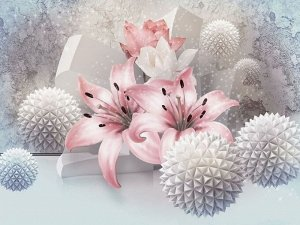 3D Фотообои  «Лилии с колючими шарами»