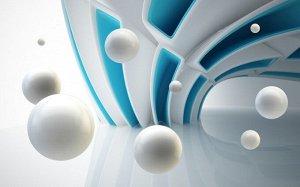 3D Фотообои  «Белые сферы в галактике»