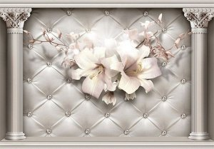 3D Фотообои  «Архитектурная инсталляция с лилиями»