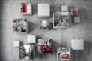 Фотообои Кубы с видами Лондона на стене