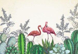 Фотообои Фламинго в кактусах