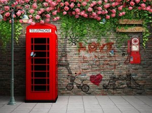 Фотообои Телефонная будка с граффити