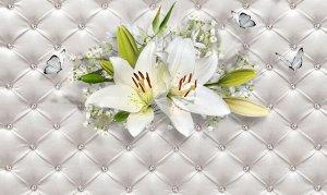 Фотообои Лилии с бабочками на роскошной коже
