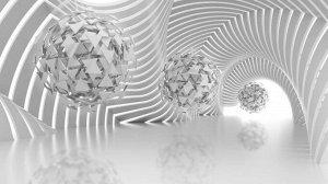 «Абстрактная композиция со сферами из треугольников»