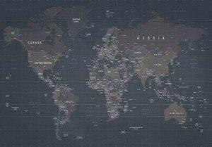 Фотообои Потертая карта мира