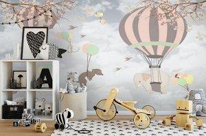 3D Фотообои «Животные на воздушных шарах»