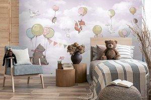 Фотообои «Милые зверюшки на шариках»