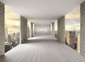 Фотообои Открытый тоннель с видом на небоскребы