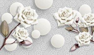 3D Фотообои «Керамические розы с парящими сферами»