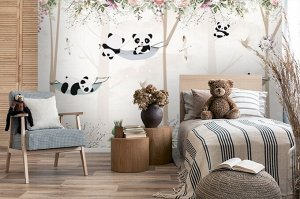 3D Фотообои «Забавные панды»
